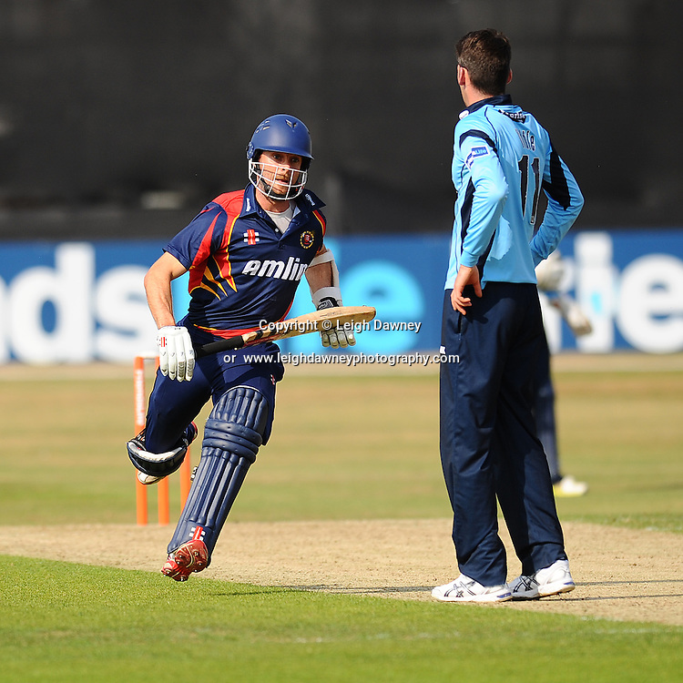 """Ryan Ten Doeschate gets caught out during the Friends Life T20 between Essex """"Eagles"""" v Sussex """"Sharks"""". at the Essex County Cricket Ground on the 14th July 2013. Credit: © Leigh Dawney Photography. Self Billing where applicable. Tel: 07812 790920"""