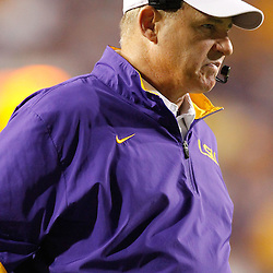 September 10, 2011; Baton Rouge, LA, USA;  LSU Tigers head coach Les Miles  watches from the sideline during the second half against the Northwestern State Demons at Tiger Stadium. LSU defeat Northwestern State 49-3. Mandatory Credit: Derick E. Hingle