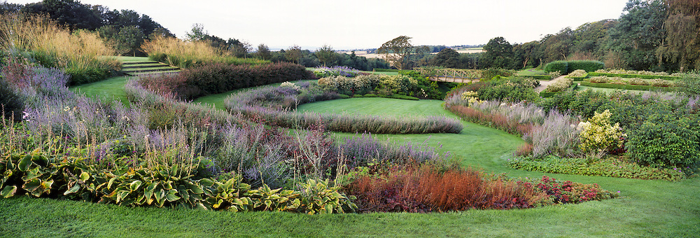 View westwards over the Ravine Garden with the Bridge and farmland in background<br /> Teasses Estate, Ceres, Fife