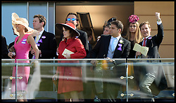 Image ©Licensed to i-Images Picture Agency. 21/06/2014. Ascot, United Kingdom. Princess Eugenie watching the racing on  Day 5 of Royal Ascot. Ascot Racecourse. Picture by Andrew Parsons / i-Images