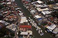 BELIZE / Belize City / Aereal view of Swing Bridge and Haulover Creek...© JOAN COSTA