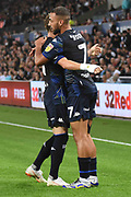 Leeds United midfielder Kemar Roofe (7) scores a goal 1-1 and celebrates during the EFL Sky Bet Championship match between Swansea City and Leeds United at the Liberty Stadium, Swansea, Wales on 21 August 2018.