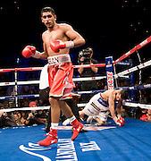 Dec. 11, 2010: WBA super lightweight champion Amir Khan (24-1, 17 KOs) won a twelve round firefight against WBA interim super lightweight titleholder Marcos Maidana (29-2, 27 KOs) . Scores were 114-111, 114-111, and 113-112.