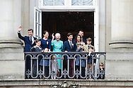 16.04.2015. Copenhagen, Denmark.<br /> Queen Margrethe II celebrates her 75th birthday with her whole family, From left to right Crown Prince Frederik, Princess Isabella, Crown Princess Mary, Prince Vincent, Prince Christian, Prince Nikolai, Prince Felix, Prince Henrik, Princess Athena, Prince Joachim, Prince Marie and Princess Josephine wave on the balcony of Amalienborg Palace.<br /> Photo:&copy; Ricardo Ramirez