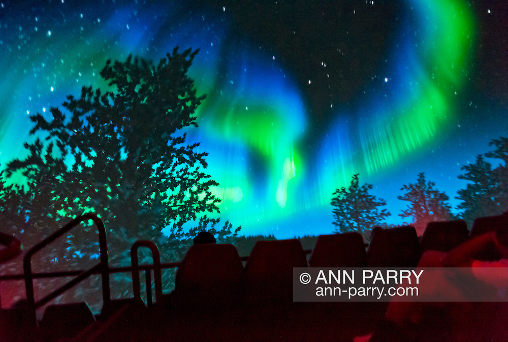 """Oct 4, 2012 - GARDEN CITY, NEW YORK U.S. - At the new JetBlue Sky Theater Planetarium at Cradle of Aviation Museum, Nassau County students watched """"We Are Astronomers"""" a digital planetarium show, which included the aurora borealis, also known as northern lights. The planetarium, a state-of-the-art digital projection system, officially opens this weekend."""