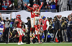 February 2, 2020, Miami Gardens, FL, USA: Kansas City Chiefs tight end Travis Kelce (87) and Kansas City Chiefs wide receiver Sammy Watkins (14) celebrate a touchdown late in the fourth quarter of Super Bowl 54on Sunday, Feb. 2, 2020 at Hard Rock Stadium in Miami Gardens, FL. (Credit Image: © TNS via ZUMA Wire)