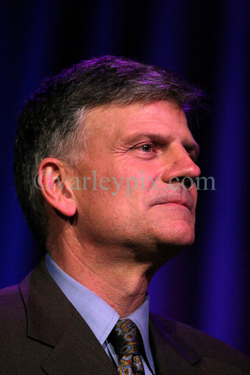 March 12th, 2006. New Orleans, Louisiana. <br /> Claiming this to be his last event preaching from the pulpit, the world's most famous evangelist, Franklin Graham, son of the Reverend Billy Graham addresses a capacity crowd at the New Orleans Arena as he brings his 'Celebration of Hope' weekend event to an end.<br /> Photo©; Charlie Varley/varleypix.com