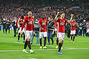 Marcos Rojo Defender of Manchester United celebrates with Ander Herrera Midfielder of Manchester United during the EFL Cup Final between Manchester United and Southampton at Wembley Stadium, London, England on 26 February 2017. Photo by Phil Duncan.