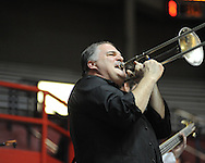 "Jeff Callaway plays trombone at Ole Miss vs. Arkansas Little Rock head basketball coach Steve Shields at the C.M. ""Tad"" Smith Coliseum in Oxford, Miss. on Friday, November 16, 2012. Ole Miss won 92-52."