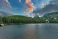 Sunset clouds over Bear Lake in Rocky Mountain National Park, Colorado, USA