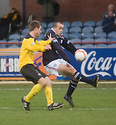 Dundee's Steven Milne and Livingston's Kyle Jacobs - Dundee v Livingston, IRN BRU Scottish Football League, First Division at Dens Park - ..© David Young - .5 Foundry Place - .Monifieth - .Angus - .DD5 4BB - .Tel: 07765 252616 - .email: davidyoungphoto@gmail.com.web: www.davidyoungphoto.co.uk