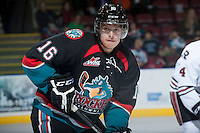 KELOWNA, CANADA - NOVEMBER 6:  Kris Schmidli #16 of the Kelowna Rockets stands on the ice against the Red Deer Rebes on NOVEMBER 6, 2013 at Prospera Place in Kelowna, British Columbia, Canada.   (Photo by Marissa Baecker/Shoot the Breeze)  ***  Local Caption  ***