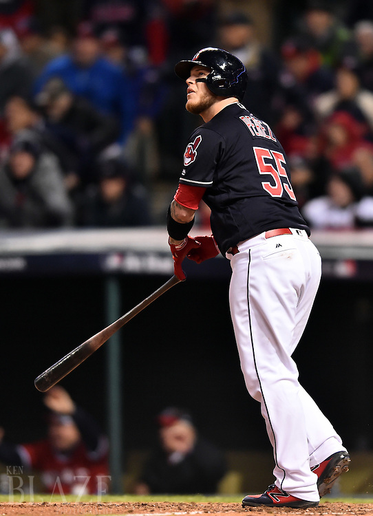 Oct 25, 2016; Cleveland, OH, USA; Cleveland Indians catcher Roberto Perez hits a three-run home run against the Chicago Cubs in the 8th inning in game one of the 2016 World Series at Progressive Field. Mandatory Credit: Ken Blaze-USA TODAY Sports