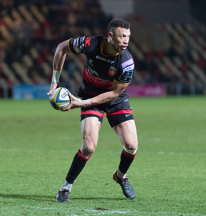 Dragons' Zane Kirchner lines up a pass as he attacks.<br /> <br /> Photographer Simon Latham/Replay Images<br /> <br /> Anglo-Welsh Cup Round Round 4 - Dragons v Worcester Warriors - Friday 2nd February 2018 - Rodney Parade - Newport<br /> <br /> World Copyright © Replay Images . All rights reserved. info@replayimages.co.uk - http://replayimages.co.uk