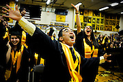 5/25/11 Elmwood Park,IL<br /> Justin Sebastian celebrates by tossing his mortar board into the air at the graduation ceremony at Elmwood Park High School in Elmwood Park on May 25, 2011. | Rob Hart~Sun-Times Media