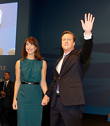 David Cameron Keynote Speech. <br /> Prime Minister David Cameron with his wife Samantha Cameron after his keynote speech to the Conservative Party Conference, Manchester, United Kingdom. Wednesday, 2nd October 2013. Picture by Elliott Franks / i-Images