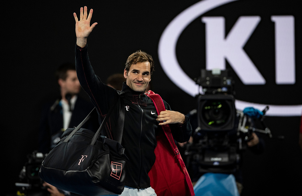 Roger Federer of Switzerland on day ten of the 2018 Australian Open in Melbourne Australia on Wednesday January 24, 2018.<br /> (Ben Solomon/Tennis Australia)
