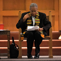 Sister Antona Ebo, FSM, opened the Faith in Ferguson prayer gathering March 10 at Our Lady of Guadalupe Church in Ferguson, Mo. Sister Ebo marched in Selma in 1965. In her speech, she reflected on the march and on the events last year in Ferguson. <br />