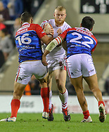 Luke Thompson of England and Bastien Escamilla (left) and Anthony Marion of France during the International Friendly match at Leigh Sports Village, Leigh<br /> Picture by Steve McCormick/Focus Images Ltd 07545 862647<br /> 17/10/2018