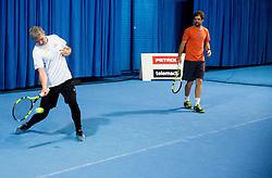 Tomaz Berlocnik, CEO of Petrol and Blaz Kavcic  at event for sponsors of Tenis Slovenija when they are playing tennis with Slovenian men Davis Cup team, on January 25, 2018 in Tennis Centre Breskvar, Ljubljana, Slovenia.  Photo by Vid Ponikvar / Sportida