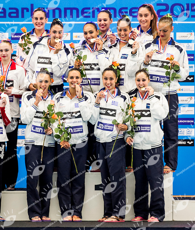 Final Highlight Routine<br /> Podium<br /> GRE GREECE Gold Medal<br /> European Champions Cup Synchronised Swimming Haarlemmermeer 2015<br /> Haarlemmermeer, Netherlands 2015  May 8 th - 10 th<br /> Day03 - May 10th<br /> Photo P. F. Mesiano/Deepbluemedia/Inside