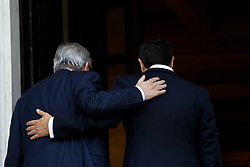 April 26, 2018 - Athens, Greece - Greek Prime Minister Alexis Tsipras (R) welcomes the President of the European Commission Jean Claude Juncker (L) prior to their meeting in Athens. Jean Claude Juncker is in Athens on an one-day official visit. (Credit Image: © Aristidis Vafeiadakis via ZUMA Wire)