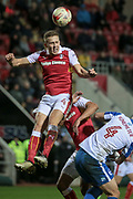 Will Vaulks (Rotherham United) wins a header during the EFL Sky Bet Championship match between Rotherham United and Brighton and Hove Albion at the AESSEAL New York Stadium, Rotherham, England on 7 March 2017. Photo by Mark P Doherty.