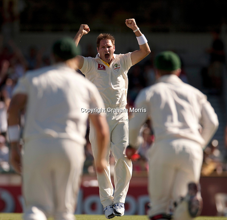 Ryan Harris celebrates trapping Alastair Cook lbw during the third Ashes test match between Australia and England at the WACA (West Australian Cricket Association) ground in Perth, Australia. Photo: Graham Morris (Tel: +44(0)20 8969 4192 Email: sales@cricketpix.com) 18/12/10