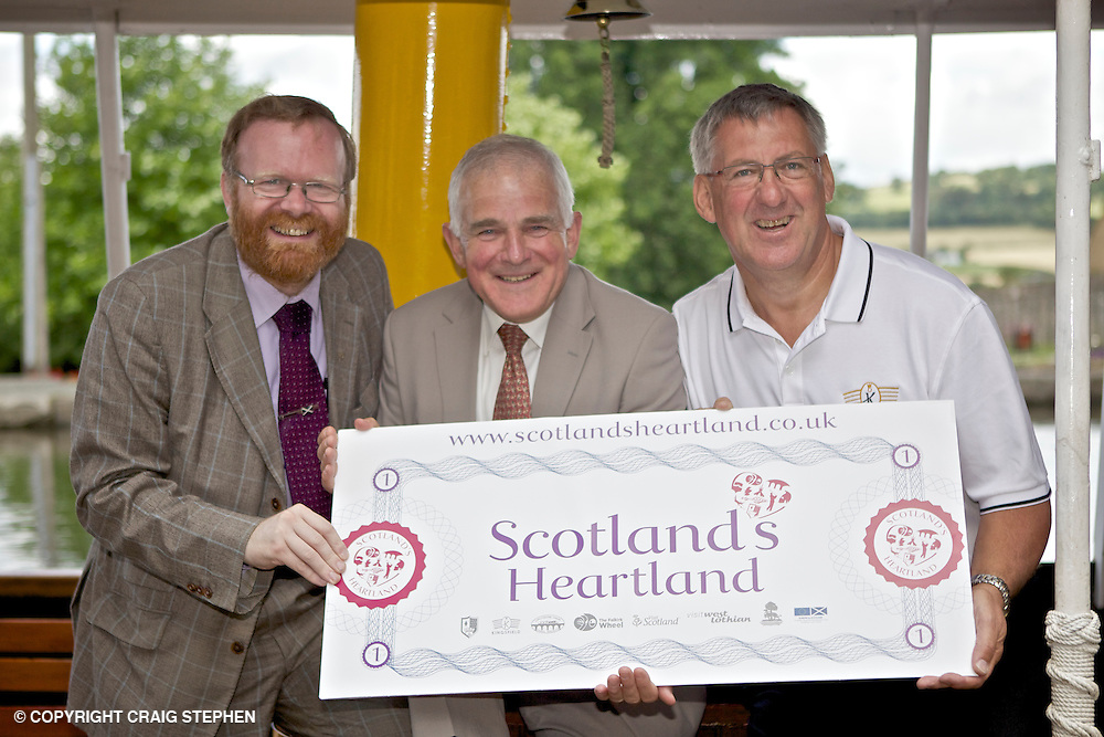 Visit Scotland Launch of Scotland's Heartland campaign at Linlithgow Canal Centre & Museum, Thursday 8th July, 2010. Pic shows Martyn Day, Executive Cllr Development & Transport and Chair of Visit West Lothian, Jim Mather, Minister for Energy, Enterprise & Tourism and Ronnie Bamberry, Chair Scotland's Heartland project and Chair of Pride & Passion Linlithgow.
