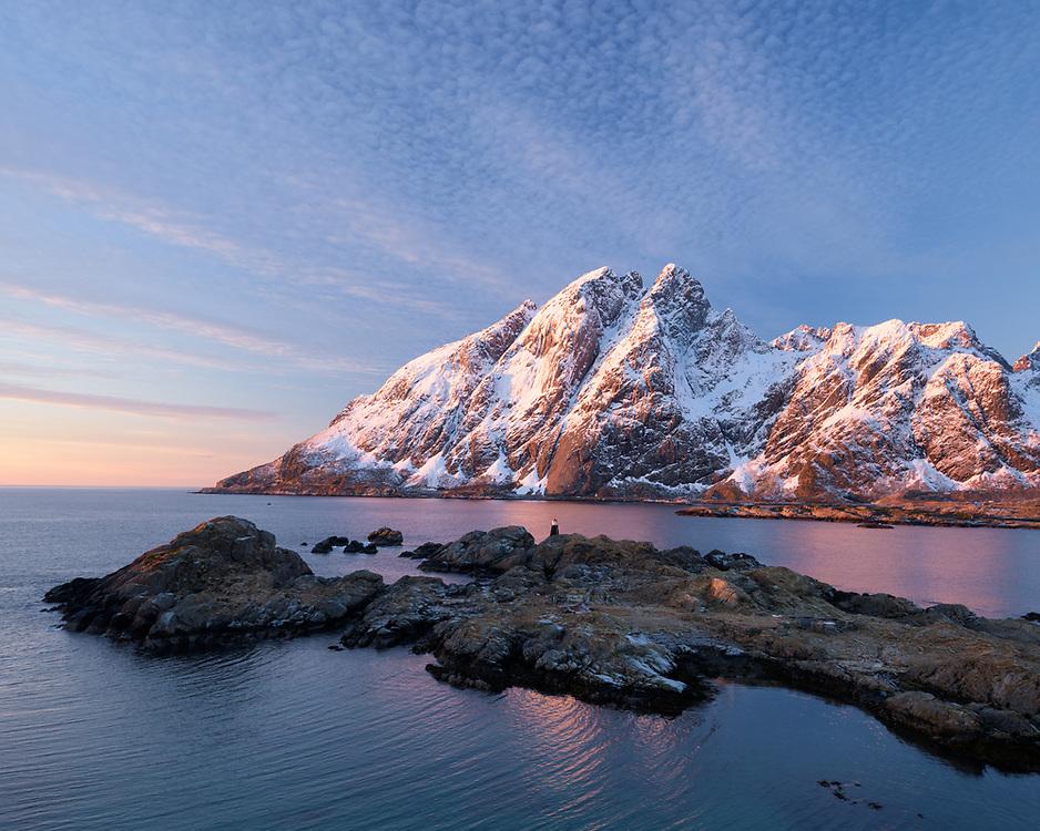 Mountains and Grimsholmen, Lofoten, Norway