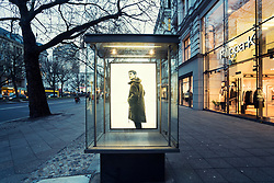 Glass display cabinet for Filippa K boutique  on famous shopping street Kurfurstendamm , Kudamm, in Berlin, Germany.
