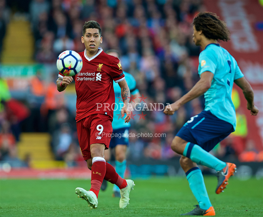 LIVERPOOL, ENGLAND - Saturday, April 14, 2018: Liverpool's Roberto Firmino during the FA Premier League match between Liverpool FC and AFC Bournemouth at Anfield. (Pic by Laura Malkin/Propaganda)