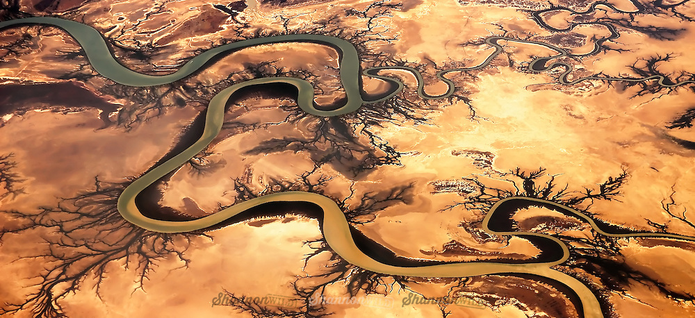 Aeria photo of the Norman River in the Cape York Peninsula, Queensland, Australia.  Fed from the Gulf of Carpentaria.