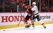 April 13, 2017 - Chicago, IL, USA - The Chicago Blackhawks' Jonathan Toews (19) is tied up by the Nashville Predators' Mike Fisher, right, in the first period of Game 1 in the first round of the playoffs at the United Center in Chicago on Thursday, April 13, 2017. (Credit Image: © Chris Sweda/TNS via ZUMA Wire)
