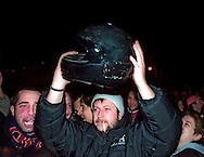 Roma Gennaio 2004.Luca Casarini  portavoce dei disobbedienti con il casco in mano