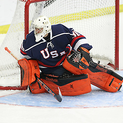 COBOURG, - Dec 15, 2015 -  Game #5 - Canada West vs the United States at the 2015 World Junior A Challenge at the Cobourg Community Centre, ON. Goaltender Kris Oldham #30 of Team United States during the first period.(Photo: Tim Bates / OJHL Images)