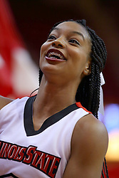 22 November 2017:  Redbird Cheerleader during a College mens basketball game between the Quincy Hawks and Illinois State Redbirds in  Redbird Arena, Normal IL