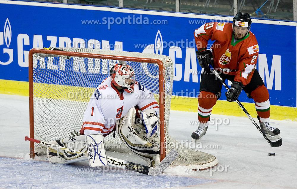 ZBOROWSKI Krzysztof  of Poland vs VAS János of Hungary  at IIHF Ice-hockey World Championships Division I Group B match between National teams of Hungary and Poland, on April 18, 2010, in Tivoli hall, Ljubljana, Slovenia.  (Photo by Vid Ponikvar / Sportida)