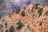 Hiking down the South Kaibab trail in the Coconino with a big view of the gorge and a piece of the Bright Angel trail in the Schist below.