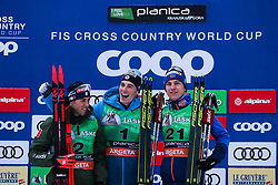 Pellegrino Federico (ITA) 2nd, Chanavat Lucas (FRA) 1st, Valnes Erik (NOR) 3rd during the Ladies sprint free race at FIS Cross Country World Cup Planica 2019, on December 21, 2019 at Planica, Slovenia. Photo By Peter Podobnik / Sportida