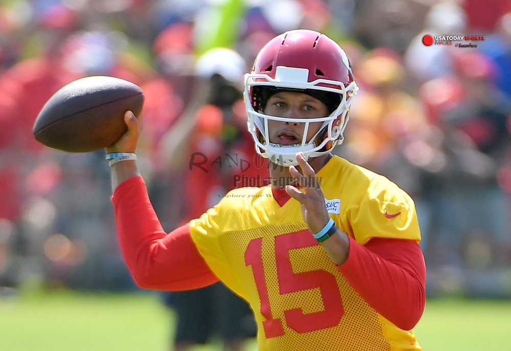 Jul 27, 2019; Kansas City, MO, USA; Kansas City Chiefs quarterback Patrick Mahomes (15) throws a pass during training camp at Missouri Western State University. Mandatory Credit: Denny Medley-USA TODAY Sports