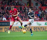 August 19th 2017, Pittodrie Stadium, Aberdeen, Scotland;  Scottish Premiership football, Aberdeen versus Dundee; Aberdeen's Greg Stewart blocks Dundee's Kevin Holt's shot