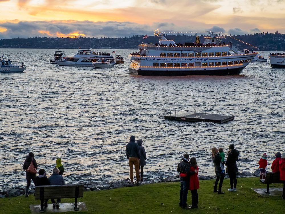 USA, Washington, Bellevue. Annual Christmas Ships display of lighted boats on Lake Washington.