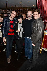 Left to right, NICK GRIMSHAW, SHARLEEN SPITERI, ? and JAMES FRANCO at a private view of 'Psycho Nacirema' at Pace Gallery, 6-10 Lexington Street followed by a party at The Playboy Club, Old Park Lane, London on 5th June 2013.