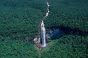 Waterfall coming down from Guyana (Guiana) Highlands toward Orinoco water basin, Guiana Shield,  Venezuela