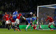 Pascal Gross of Brighton scores the opening goal during the Premier League match between Brighton and Hove Albion and Manchester United at the American Express Community Stadium in Brighton and Hove. 04 May 2018