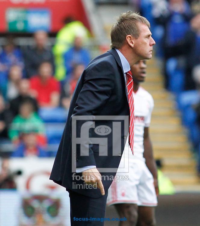 Stuart Pearce of Nottingham Forest during the Sky Bet Championship match at the Cardiff City Stadium, Cardiff<br /> Picture by Mike  Griffiths/Focus Images Ltd +44 7766 223933<br /> 18/10/2014