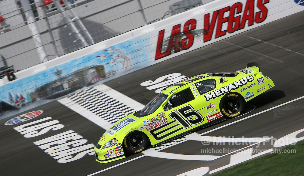 NASCAR Paul Menard seen on the track during practice for the UAW Daimler-Chrysler 400 at Las Vegas Motor Speedway on March 9, 2007.