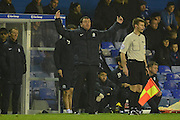 Blackburn Rovers manager Gary Bowyer has a moan during the Sky Bet Championship match between Birmingham City and Blackburn Rovers at St Andrews, Birmingham, England on 3 November 2015. Photo by Alan Franklin.