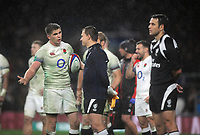 Rugby Union - 2017 Old Mutual Wealth Series (Autumn International) - England vs. Australia<br /> <br /> Owen Farrell of England argues his point with the linesman and Referee, Ben O'Keeffe that the Australian try should be disallowed at Twickenham.<br /> <br /> COLORSPORT/ANDREW COWIE